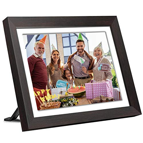 10 inch Digital Picture Frame, Smart WiFi Digital Photo Frame 1920x1080 IPS Screen, 16GB Storage, Adjustable Brightness, Photo Deletion, Auto-Rotate, Background Music, Support USB & Micro SD Card Digital Frames Picture