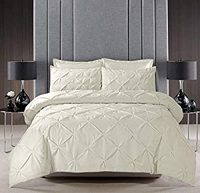 Pinch Pleat PINTUCK Duvet Cover Set Bedding With Pillow Cases Hand Made Cotton Blend by VICEROY BEDDING