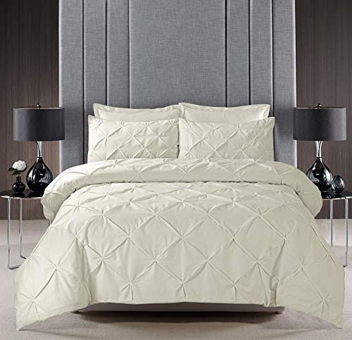 Pinch Pleat PINTUCK Duvet Cover Set Bedding With Pillow Cases Hand Made Cotton Blend (Cream, Double Size)