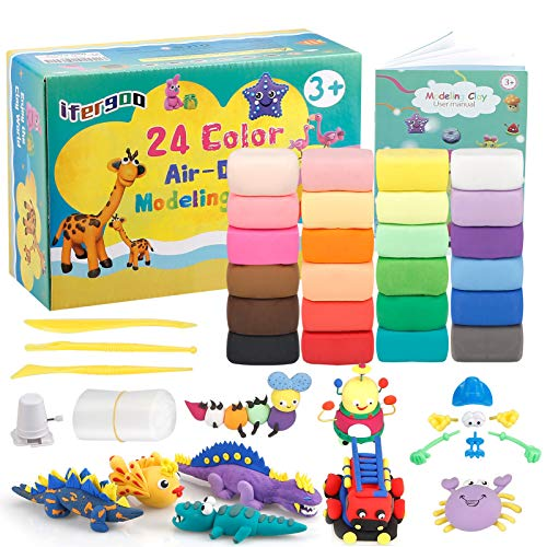 ESANDA Air Dry Clay Kit, 24 Colors Modeling Clay for Kids,with Free Tools and Manuals,Wonderful Air Hardening Clay