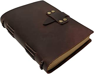 Handcraft Leather Journal with Lined Paper, 120 Sheets Kraft Pages, Leather Strap Closure, Vintage Brown, 5x7 Inches
