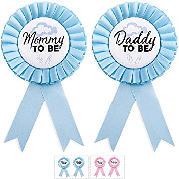 CORRURE Baby Shower Button Pins -  Mommy to Be  and  Daddy to Be  Badge Pin Set for Boy with Beautiful Blue Ribbon - Ideal Baby Shower or Gender Reveal Party Favor for Every Mom and Dad