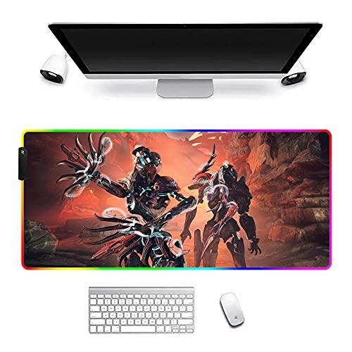 Alfombrillas de ratón Grande RGB Warframe Alfombrillas de ratón Juegos Anime Alfombrilla LED Accesorios Jugadores Alfombra Alfombrilla Escritorio PC 31.5X11.8X0.16 Pulgadas
