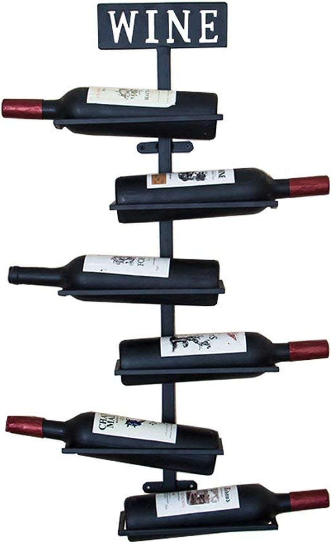 Red Wine Shelf Wine Cabinet Wall-Mounted Wine Rack Metal Iron 6 Bottles Holder Storage Shelves Vintage Style Creative Bar Wall Decoration Display Application - Black, 80X25X10cm Home Bar Furniture