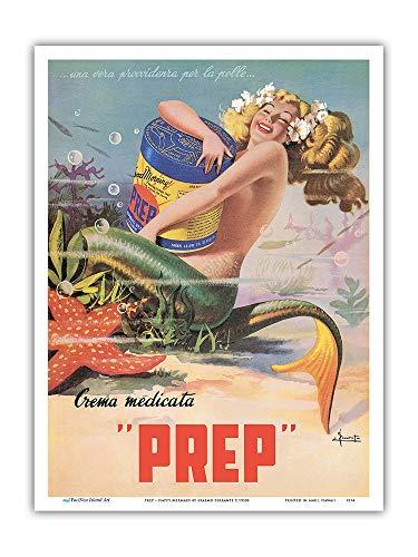 Pacifica Island Art - Glückliche Meerjungfrau - PREP Hautcreme - Retro Werbeplakat von Erasmo Ferrante c.1950s - Kunstdruck 23 x 31 cm