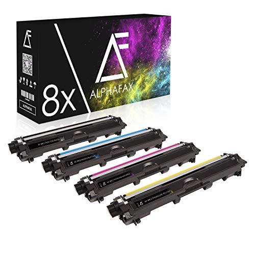 Alphafax 8 Toner kompatibel für Brother TN-241 TN-245 für Brother MFC-9142CDN, Brother DCP-9022CDW, MFC-9342CDW, MFC-9332CDW, HL-3150CDW, HL-3170CDW - Schwarz je 2.500 Seiten, Color je 2.200 Seiten