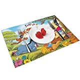 NOBRAND PVC Placemats,Washable Dining Table Mats 18'X12',Winnie-The-Pooh Plate Mat for Party Home Gathering(Set of 6)