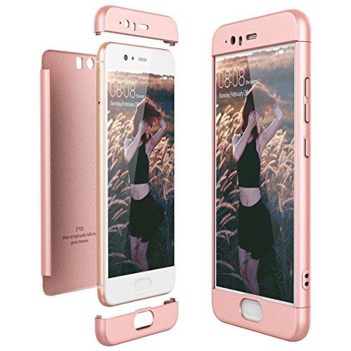 CE-Link Cover Huawei P10 360 Gradi Full Body Protezione, Custodia Huawei P10 Silicone Rigida Snap On Struttura 3 in 1 Antishock e Antiurto, Huawei P10 Case Antigraffio Molto Elegante - Oro Rosa