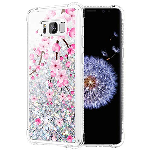 Caka Case for Galaxy S8 Galaxy S8 Glitter Case Flower Cherry Blossom Bling Luxury Fashion Flowing Quicksand Liquid Sparkle Glitter Case for Women Girls for Samsung Galaxy S8 (Cherry)