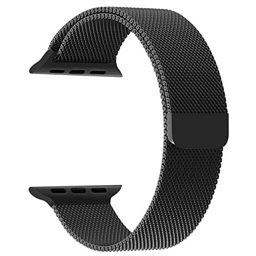 ALOIN Magnetic Lock Stainless Steel Milanese Strap Band Compatible with Apple Watch Series 1/2/3/4/5 - (40mm,38mm, Black)
