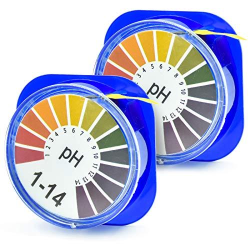 cococity Indikatorpapier pH-Wert-Messungen (pH 0-14) 5 Meter lange Lackmus Testpapier Rolle - pH Teststreifen für Wasser, Urin, Speichel