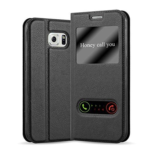 Cadorabo Custodia Libro per Samsung Galaxy S6 in Nero COMETA - con Funzione Stand e Chiusura Magnetica - Portafoglio Cover Case Wallet Book Etui Protezione