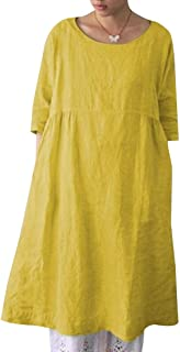 فستان تونك نسائي فضفاض طويل الأكمام سادة سادة مقاس كبير فضفاض للحفلات قميص قصير