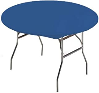 Creative Converting Round Stay Put Plastic Table Cover, 60-Inch, Royal Blue