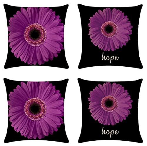 JOVEGSRVA Juego de 4 fundas de almohada decorativas de 45 cm x 45 cm, diseño de margaritas moradas