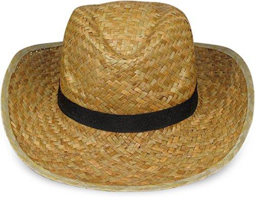 normani 1-10 Klassische Strohhüte - Sonnenhut - Festivalhut mit schwarzem Stoffband Farbe 1 Hut