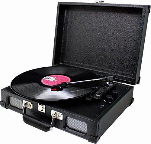 Soundmaster PL580 schwarz - Nostalgie Koffer Plattenspieler mit Kopfhöreranschluss