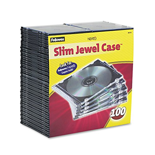 fellowes computer cases Fellowes 98335 Fellowes NEATO Slim Jewel Cases - 100 Pack (98335)