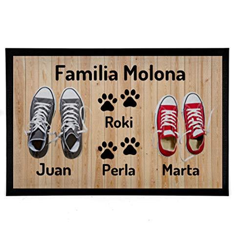 NANNUK - Felpudo Personalizado Goma Familia 2 + Dog 2