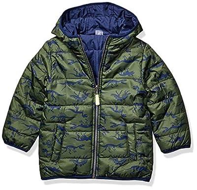 Carter's Boys' Toddler Reversible Bubble Jacket, Navy/Dino Green, 3T