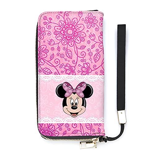 Mickey Cartoon Mouse Minnie - Cartera larga de gran capacidad, con cremallera y varios compartimentos unisex a la moda, exquisita cartera versátil
