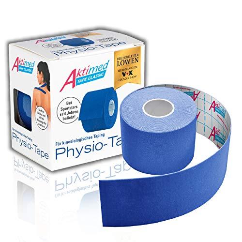 "AKTIMED Tape CLASSIC Physiotape – Sporttape elastisch & wasserfest – Dermatest ""sehr gut"" – Physio Tape atmungsaktiv & hautfreundlich – Tape Kinesologie/Kinesiologie Tapes (blau)"