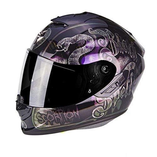 SCORPION Casque moto EXO 1400 AIR BLACKSPELL Noir cameleon, Noir/Violet, L