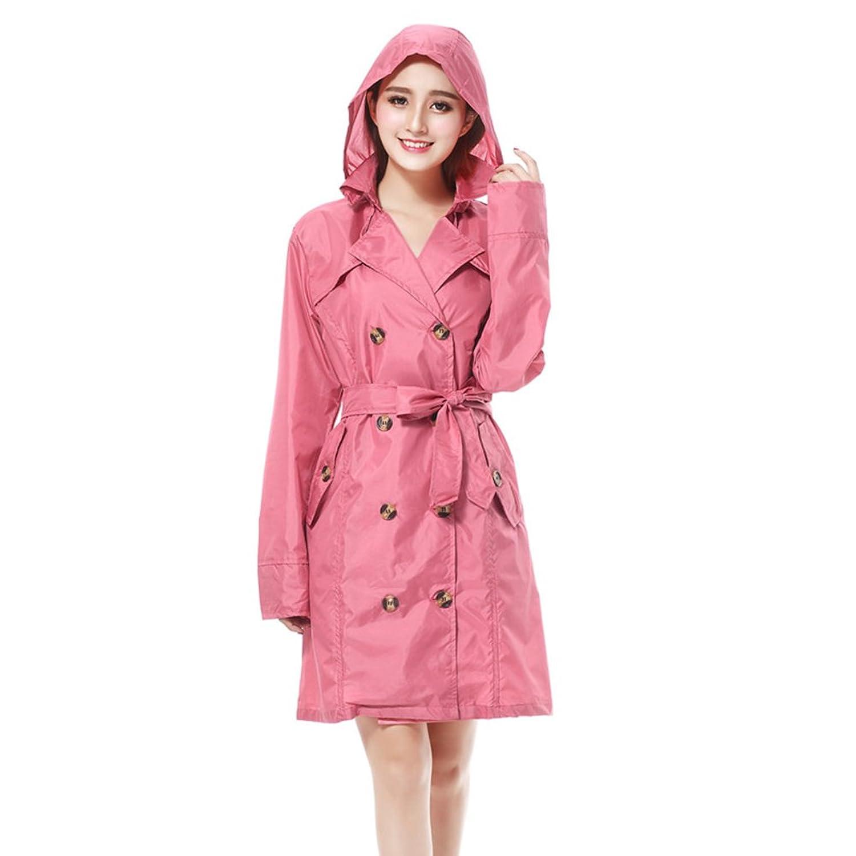 PENGFEI 日焼け止め レインコート ポンチョ 隠す 防水 ベルト ロングトレンチコート 通気性のある 柔らかい 女性、 3色 (色 : Pink, サイズ さいず : M)