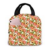 TTmom Watercolor Peach Pattern Reusable Insulated Cooler Tote Box With Front Pocket Zipper Closure For Woman Man Work Pinic Or Travel