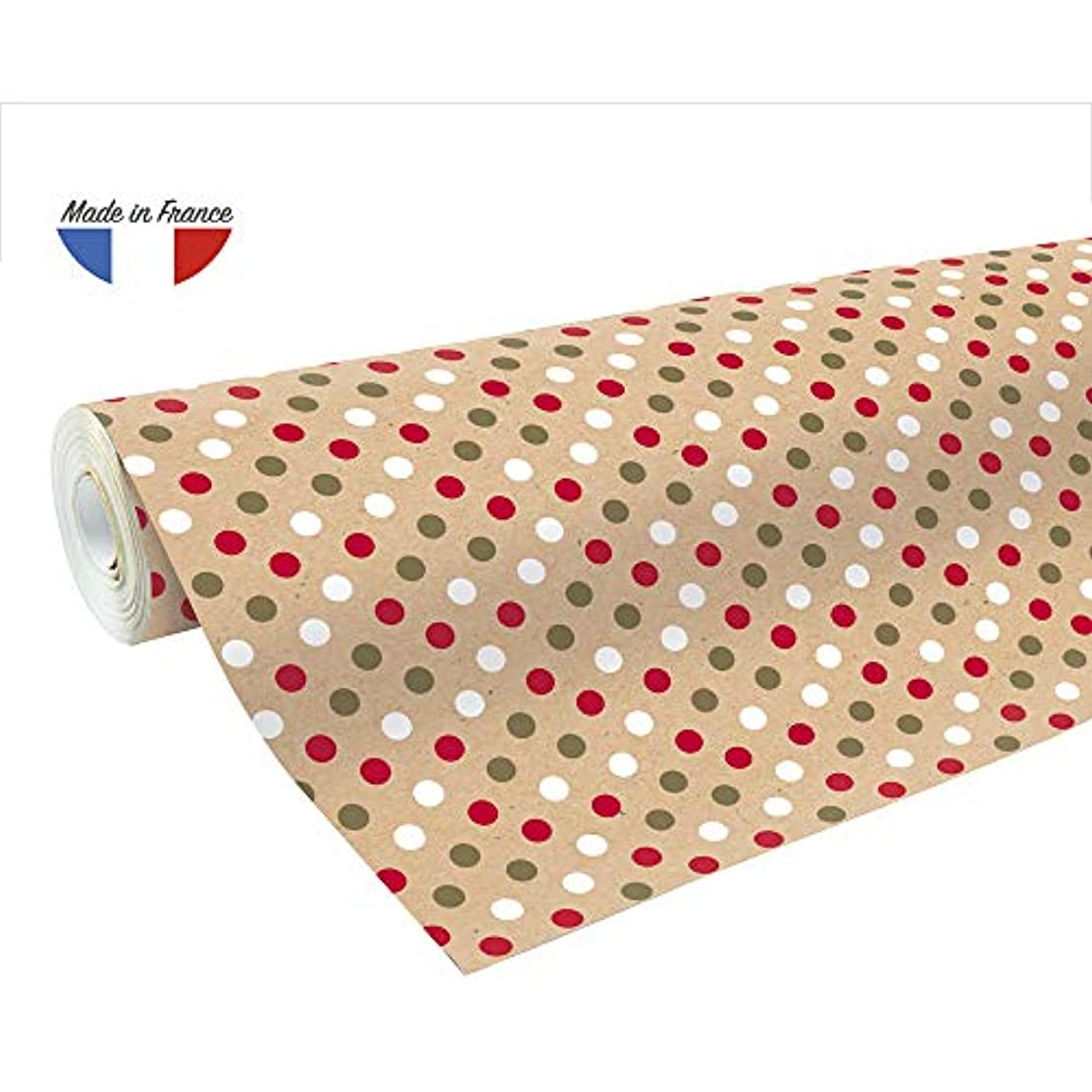 Clairefontaine 50 m x 0.70 m Recycled Kraft Long Roll Wrapping Paper, Dots