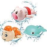 TaimeiMao Badespielzeug Baby Bade Bad Schwimmen Badewanne Pool Spielzeug Uhrwerk Schildkröte Schwimmbad Spielzeug Für Kleinkinder Jungen Mädchen(3 PCS)