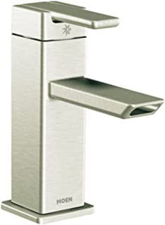 Moen S6700BN 90 Degree One-Handle Modern Bathroom Faucet with Drain Assembly, Brushed Nickel