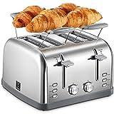 Yabano Tostapane con 4 fette per panini, 7 livelli di doratura, funzione di centraggio, con cassetto...