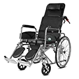 XTMM Fauteuil Roulant Self-Style Home High Back Allongé Pliable Portable Travel Old Man Trolley Disabled Scooter