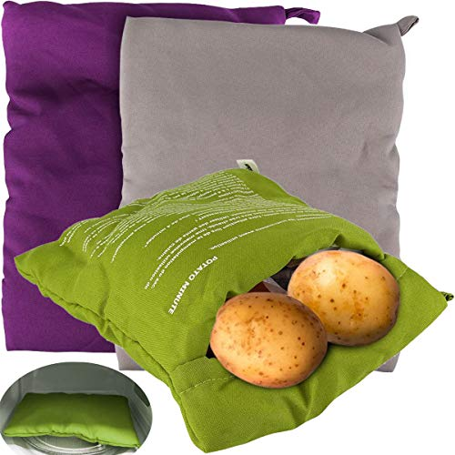 QAQGEAR 3 Stück Mikrowellen-Kartoffel beutel Wiederverwendbare Kartoffel Kochbeutel zum Backen perfekter Kartoffeln, waschbar (grau, lila, grün)