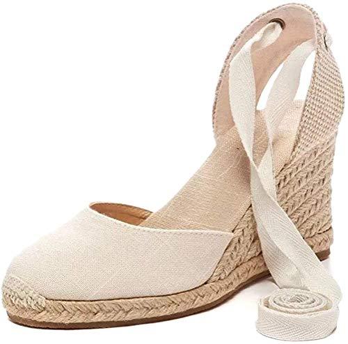 Tomwell Damen Sommer Sandalen Espadrilles Wedge Mode Plateauschuhe Lace Up Platform Mode Casual Römersandalen A Beige 40 EU