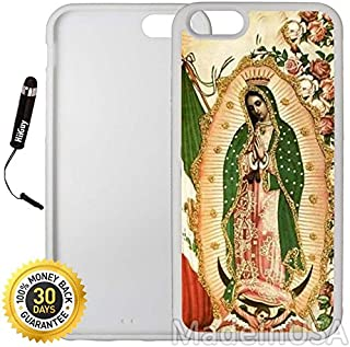 Custom iPhone 6 Plus/6S Plus Case (Mexico Flag Virgen de La Guadalupe) Edge-to-Edge Rubber White Cover with Shock and Scratch Protection   Lightweight, Ultra-Slim   Includes Stylus Pen by INNOSUB