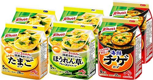 クノール フリーズドライスープ 28食セット(たまご10食・ほうれん草とベーコン10食・海鮮チゲ8食)