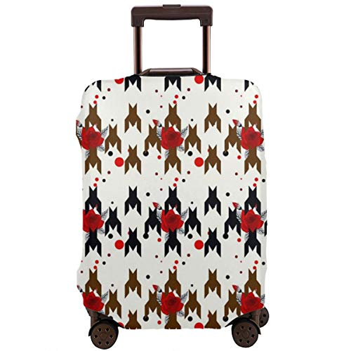 SARA NELL Travel Luggage Cover Hounds Tooth Pattern With Red Flower Suitcase Cover Protector Fits 18-32 Inch Luggage Baggage Cover