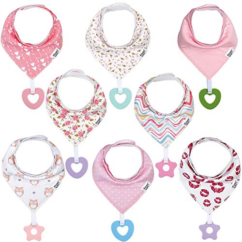Baby Bandana Drool Teething Bibs for Girls - Super Absorbent Organic Cotton Baby Girl Bibs with Teethers with Teething Toys - Girls Bibs Set (8 Pack -2)