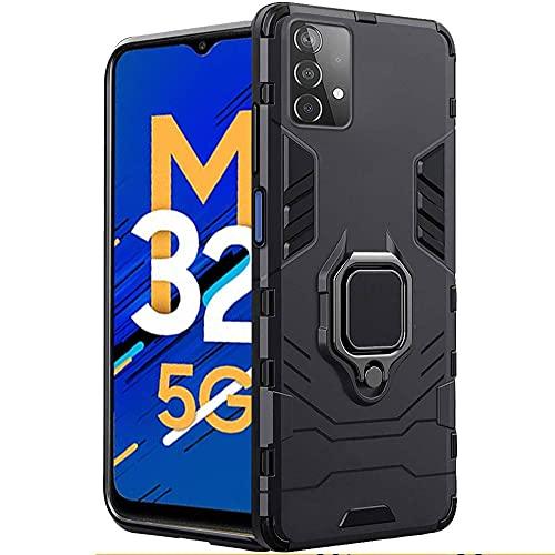 TheGiftKart Tough Armor Samsung Galaxy M32 5G Bumper Back Case Cover | Ring Holder & Kickstand in-Built | 360 Degree Protection Back Case Cover for Samsung Galaxy M32 5G (Black)