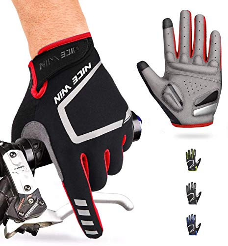 NICEWIN Cycling Gloves Motorcycle Bike Mountain- Road Bicycle Men Women Padded Antiskid Touch Screen Red XL