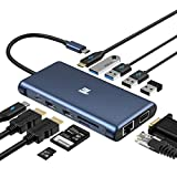 USB C Hub, Tiergrade 12 in 1 Triple Display Docking Station with Dual HDMI, VGA, 100W PD 3.0, RJ45 Ethernet, USB-A USB-C Ports, TF/SD Card Reader for MacBook and Type-C Laptops