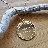 MELI MELOW Collier pendentif médaille ronde 27 mm et gravure de votre choix recto verso en plaqué or jaune - bijou...