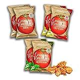Chips de tomate, 6 paquetes (6x 30 g) de tomates secos. Un snak ligero, crujiente y ternecito con deliciosas especias en 3 sabores y vegano, sin gluten, Low Carb