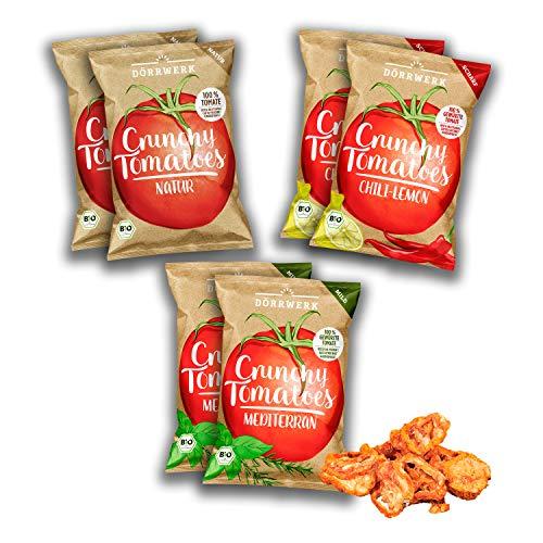 Tomaten Gemüse Chips 6er Set aus getrockneten Tomaten I Leicht, knusprig und knackiger Snack mit leckerer Würzung in 3 Geschmacksrichtungen I Vegan, Gluetenfrei Low Carb