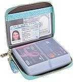 Easyoulife Womens Credit Card Holder Wallet Zip Leather Card Case RFID Blocking (Glitter Teal)
