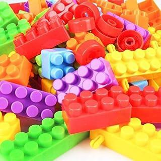 مجموعة مكعبات بناء متعددة الألوان من البلاستيك الناعم من 72 قطعة مع قطع ذات عجلات وحقيبة حمل، الكثير من المرح، رائعة للأطف...