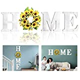 """Wall Hanging 12"""" Wood Home Letters, Decorative Large Wooden Home Sign with Artificial Sunflower Wreath for O, Rustic Wall Decor Art, Farmhouse Wall Decoration for House Living Room Kitchen Entryway"""