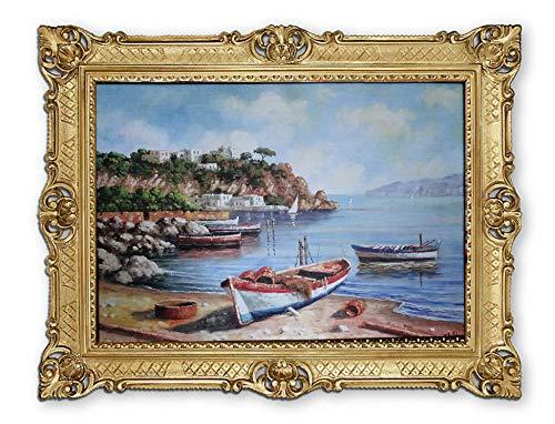 Lnxp Prachtig schilderij 90x70 cm van kunstenaars: E. Roland Boot Booten schip strand zee scheepsbeeld zeilschip zeilboot golven maritieme afbeeldingen barok antiek repro